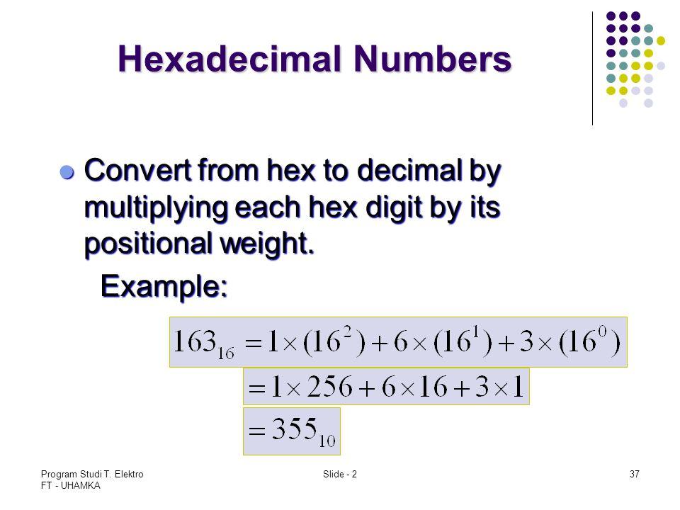 Program Studi T. Elektro FT - UHAMKA Slide - 237 Hexadecimal Numbers Convert from hex to decimal by multiplying each hex digit by its positional weigh