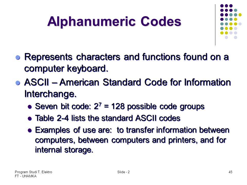 Program Studi T. Elektro FT - UHAMKA Slide - 245 Alphanumeric Codes Represents characters and functions found on a computer keyboard. Represents chara