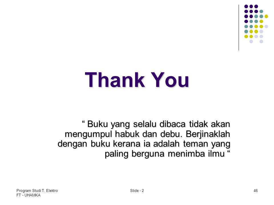"Program Studi T. Elektro FT - UHAMKA Slide - 246 Thank You "" Buku yang selalu dibaca tidak akan mengumpul habuk dan debu. Berjinaklah dengan buku kera"