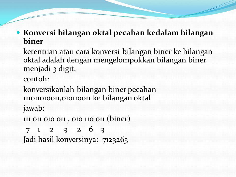 Konversi bilangan oktal pecahan kedalam bilangan biner ketentuan atau cara konversi bilangan biner ke bilangan oktal adalah dengan mengelompokkan bila