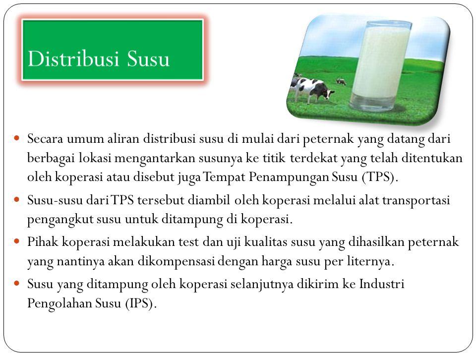 Distribusi Susu Secara umum aliran distribusi susu di mulai dari peternak yang datang dari berbagai lokasi mengantarkan susunya ke titik terdekat yang