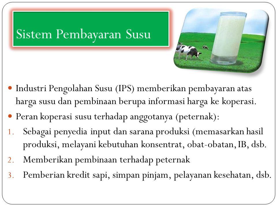 Sistem Pembayaran Susu Industri Pengolahan Susu (IPS) memberikan pembayaran atas harga susu dan pembinaan berupa informasi harga ke koperasi. Peran ko