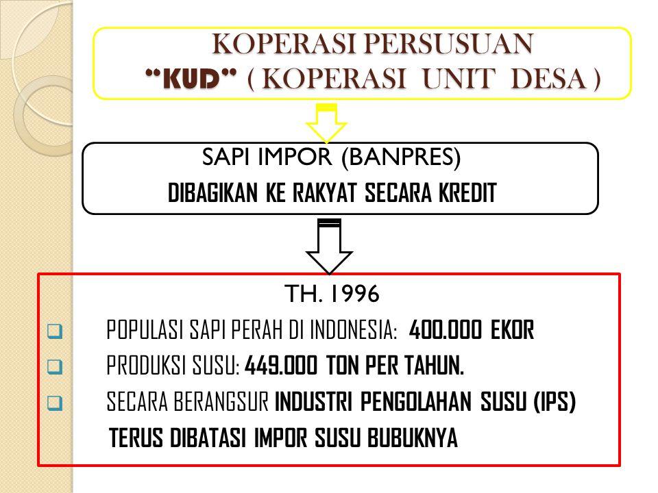 """KOPERASI PERSUSUAN """"KUD"""" ( KOPERASI UNIT DESA ) SAPI IMPOR (BANPRES) DIBAGIKAN KE RAKYAT SECARA KREDIT TH. 1996  POPULASI SAPI PERAH DI INDONESIA: 40"""