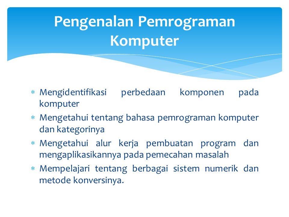  Mengidentifikasi perbedaan komponen pada komputer  Mengetahui tentang bahasa pemrograman komputer dan kategorinya  Mengetahui alur kerja pembuatan