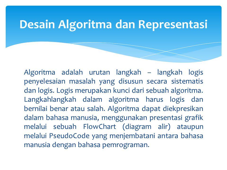 Algoritma adalah urutan langkah – langkah logis penyelesaian masalah yang disusun secara sistematis dan logis. Logis merupakan kunci dari sebuah algor