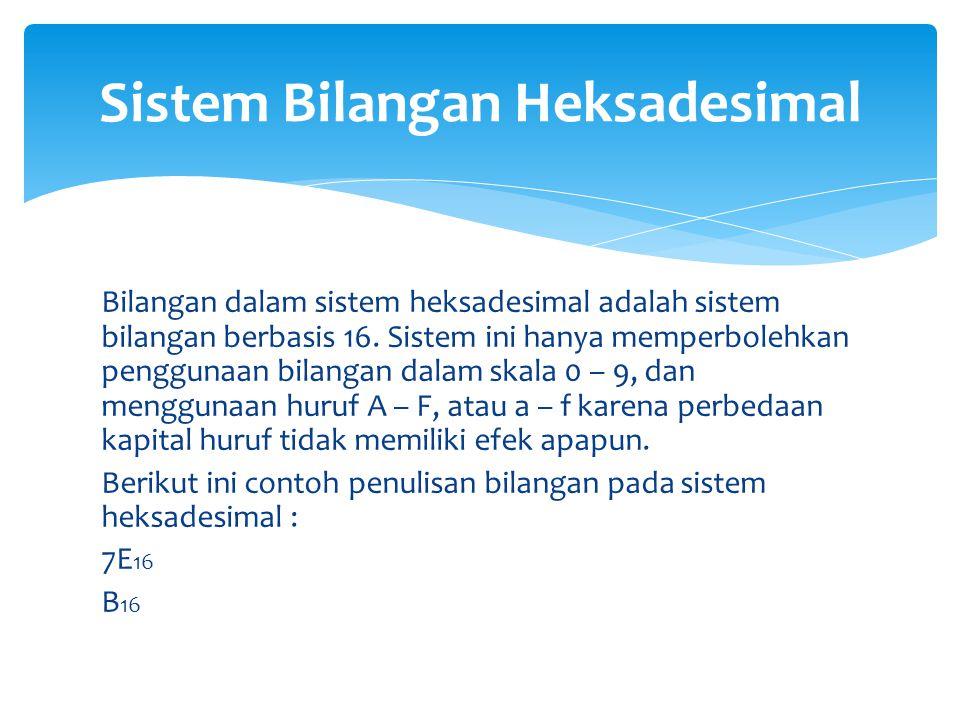 Bilangan dalam sistem heksadesimal adalah sistem bilangan berbasis 16. Sistem ini hanya memperbolehkan penggunaan bilangan dalam skala 0 – 9, dan meng