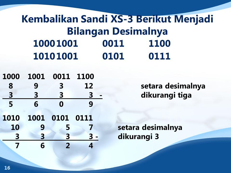 Kembalikan Sandi XS-3 Berikut Menjadi Bilangan Desimalnya 1000100100111100 1010100101010111 16 1000 1001 0011 1100 8 9 3 12setara desimalnya 3 3 3 3 -
