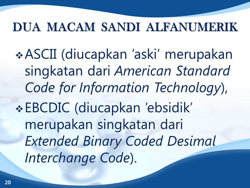 DUA MACAM SANDI ALFANUMERIK  ASCII (diucapkan 'aski' merupakan singkatan dari American Standard Code for Information Technology),  EBCDIC (diucapkan