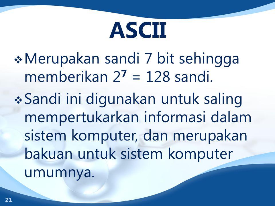 ASCII  Merupakan sandi 7 bit sehingga memberikan 2 7 = 128 sandi.  Sandi ini digunakan untuk saling mempertukarkan informasi dalam sistem komputer,