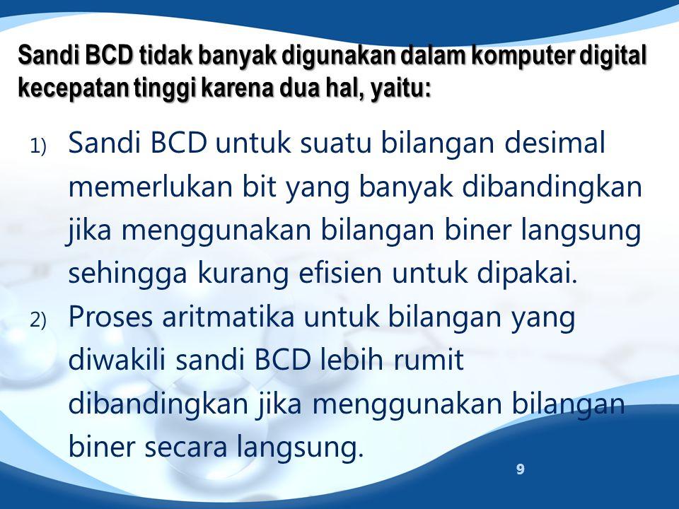 Sandi BCD tidak banyak digunakan dalam komputer digital kecepatan tinggi karena dua hal, yaitu: 1) Sandi BCD untuk suatu bilangan desimal memerlukan b