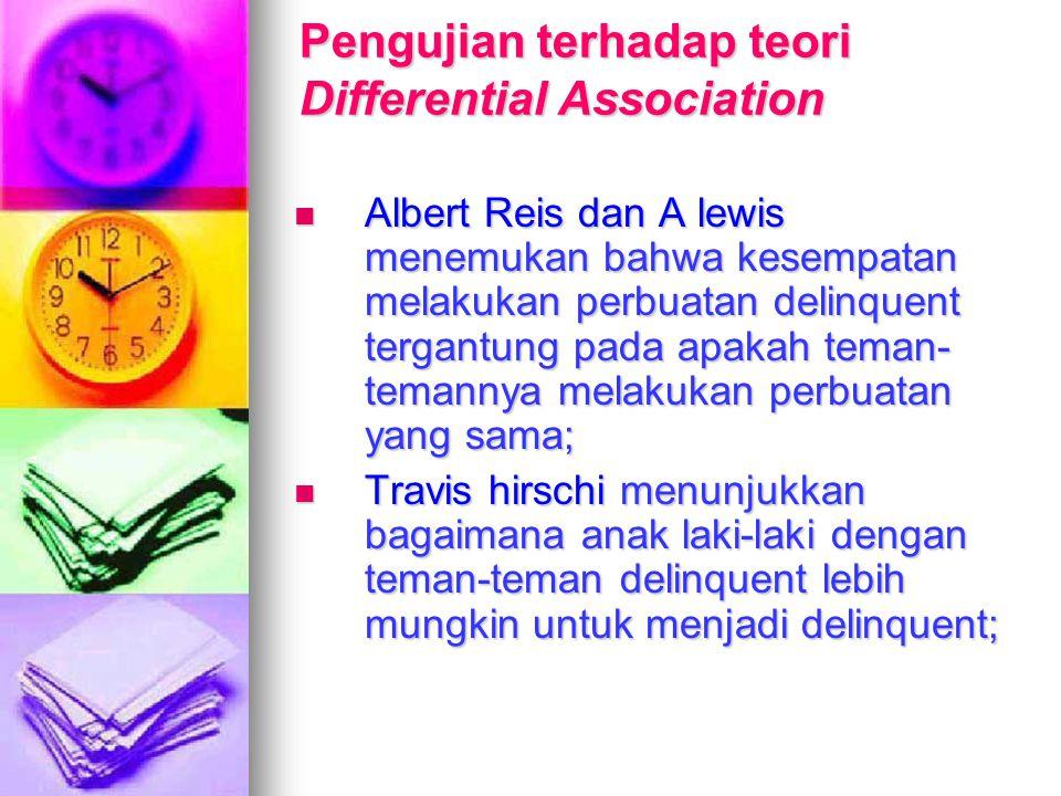Pengujian terhadap teori Differential Association Albert Reis dan A lewis menemukan bahwa kesempatan melakukan perbuatan delinquent tergantung pada ap