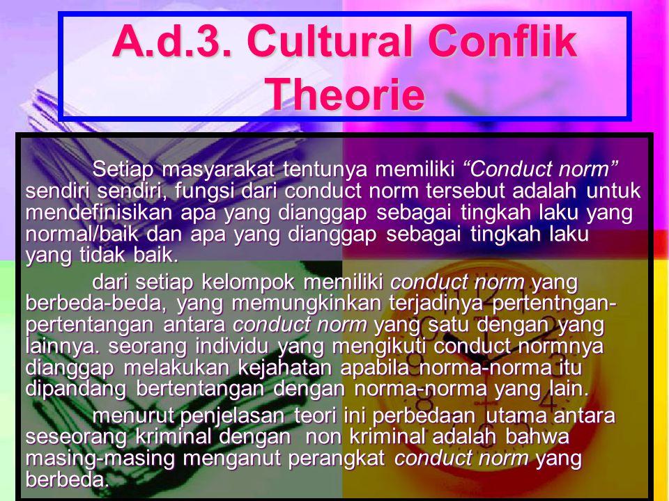 "A.d.3. Cultural Conflik Theorie Setiap masyarakat tentunya memiliki ""Conduct norm"" sendiri sendiri, fungsi dari conduct norm tersebut adalah untuk men"