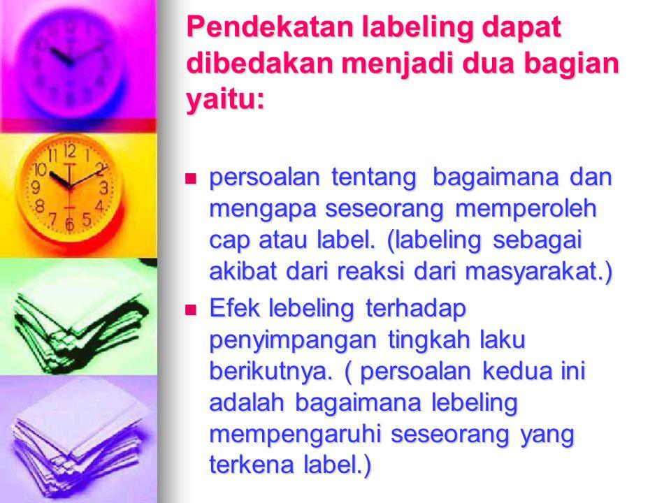 Pendekatan labeling dapat dibedakan menjadi dua bagian yaitu: persoalan tentang bagaimana dan mengapa seseorang memperoleh cap atau label. (labeling s