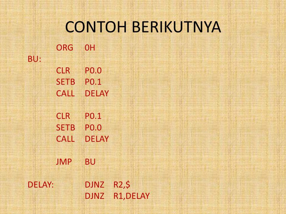 CONTOH BERIKUTNYA ORG0H BU: CLRP0.0 SETBP0.1 CALLDELAY CLRP0.1 SETBP0.0 CALLDELAY JMPBU DELAY:DJNZR2,$ DJNZR1,DELAY