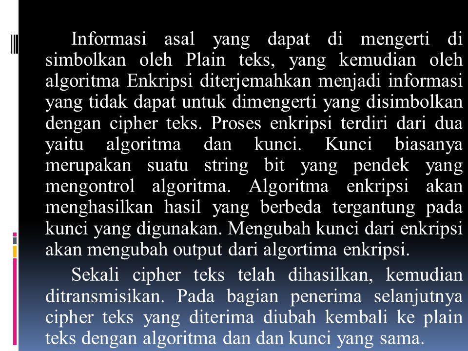 Informasi asal yang dapat di mengerti di simbolkan oleh Plain teks, yang kemudian oleh algoritma Enkripsi diterjemahkan menjadi informasi yang tidak d