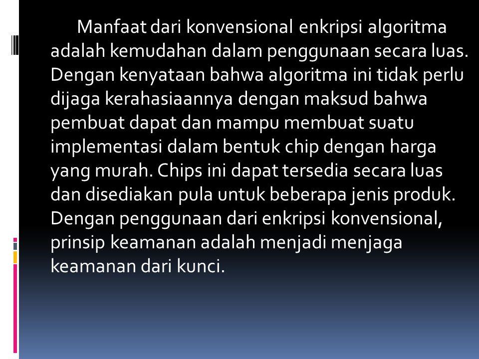 Manfaat dari konvensional enkripsi algoritma adalah kemudahan dalam penggunaan secara luas. Dengan kenyataan bahwa algoritma ini tidak perlu dijaga ke