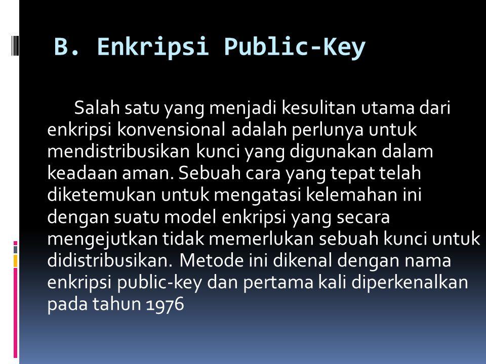 B. Enkripsi Public-Key Salah satu yang menjadi kesulitan utama dari enkripsi konvensional adalah perlunya untuk mendistribusikan kunci yang digunakan