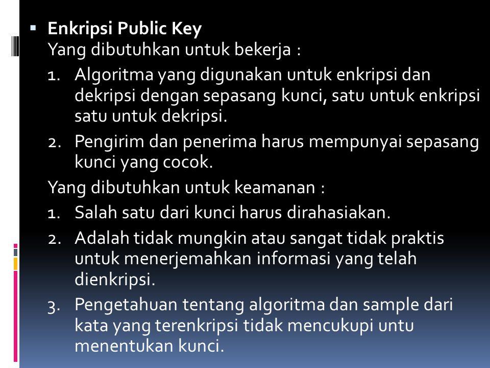  Enkripsi Public Key Yang dibutuhkan untuk bekerja : 1.Algoritma yang digunakan untuk enkripsi dan dekripsi dengan sepasang kunci, satu untuk enkrips