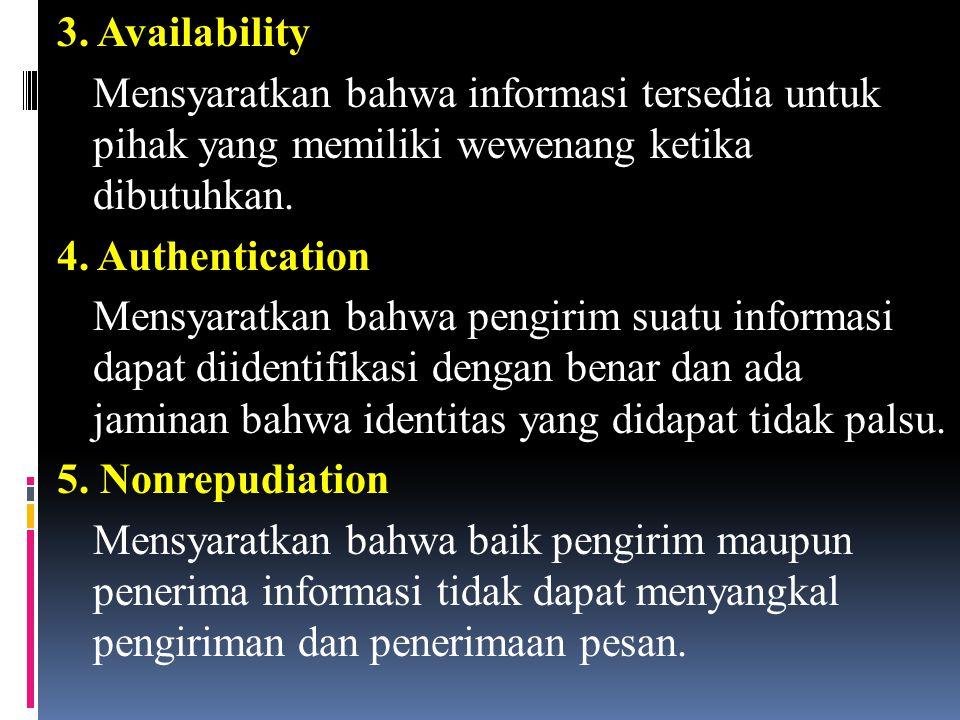 3. Availability Mensyaratkan bahwa informasi tersedia untuk pihak yang memiliki wewenang ketika dibutuhkan. 4. Authentication Mensyaratkan bahwa pengi