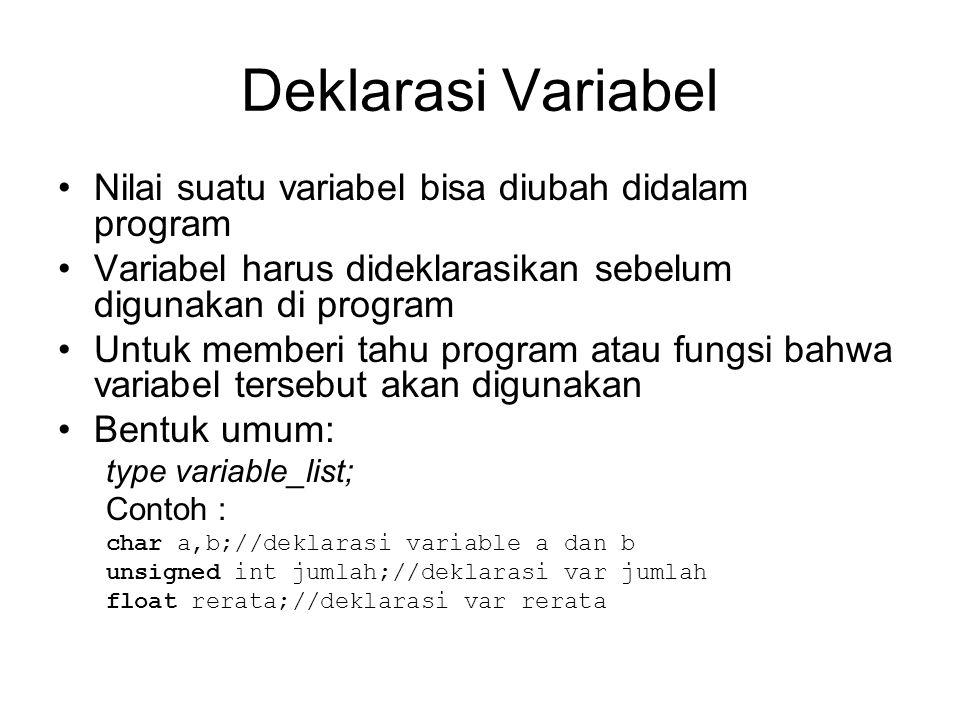 Deklarasi Variabel Nilai suatu variabel bisa diubah didalam program Variabel harus dideklarasikan sebelum digunakan di program Untuk memberi tahu program atau fungsi bahwa variabel tersebut akan digunakan Bentuk umum: type variable_list; Contoh : char a,b;//deklarasi variable a dan b unsigned int jumlah;//deklarasi var jumlah float rerata;//deklarasi var rerata