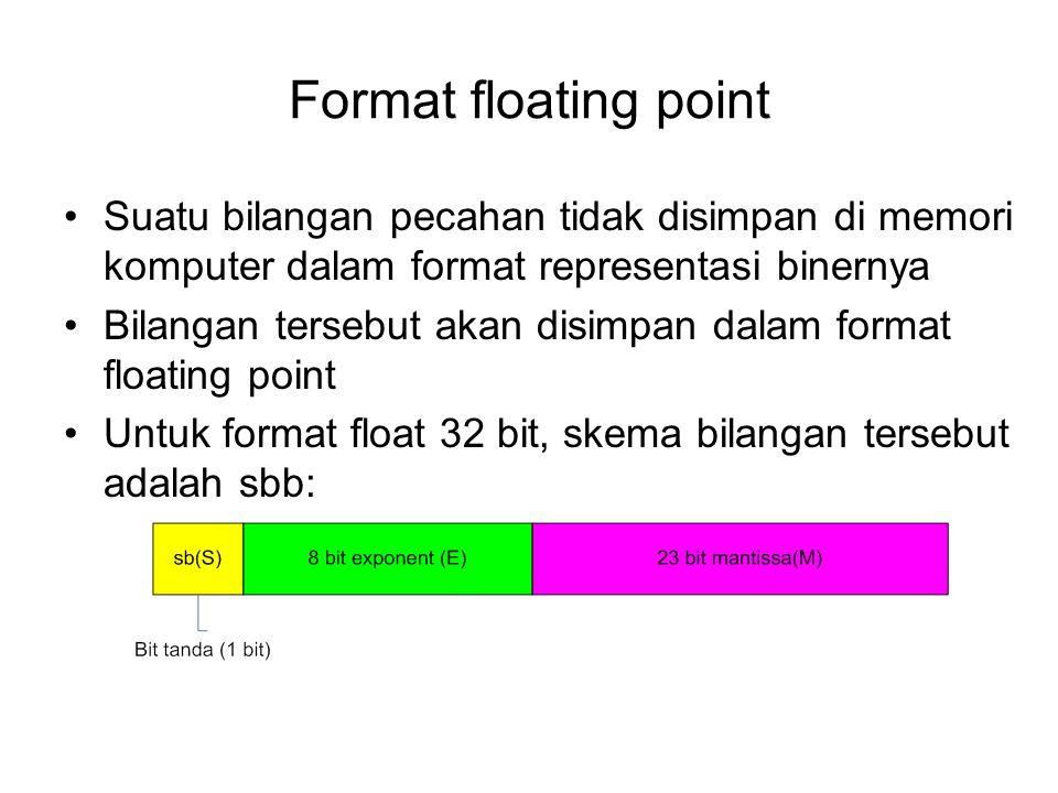 Format floating point Suatu bilangan pecahan tidak disimpan di memori komputer dalam format representasi binernya Bilangan tersebut akan disimpan dala