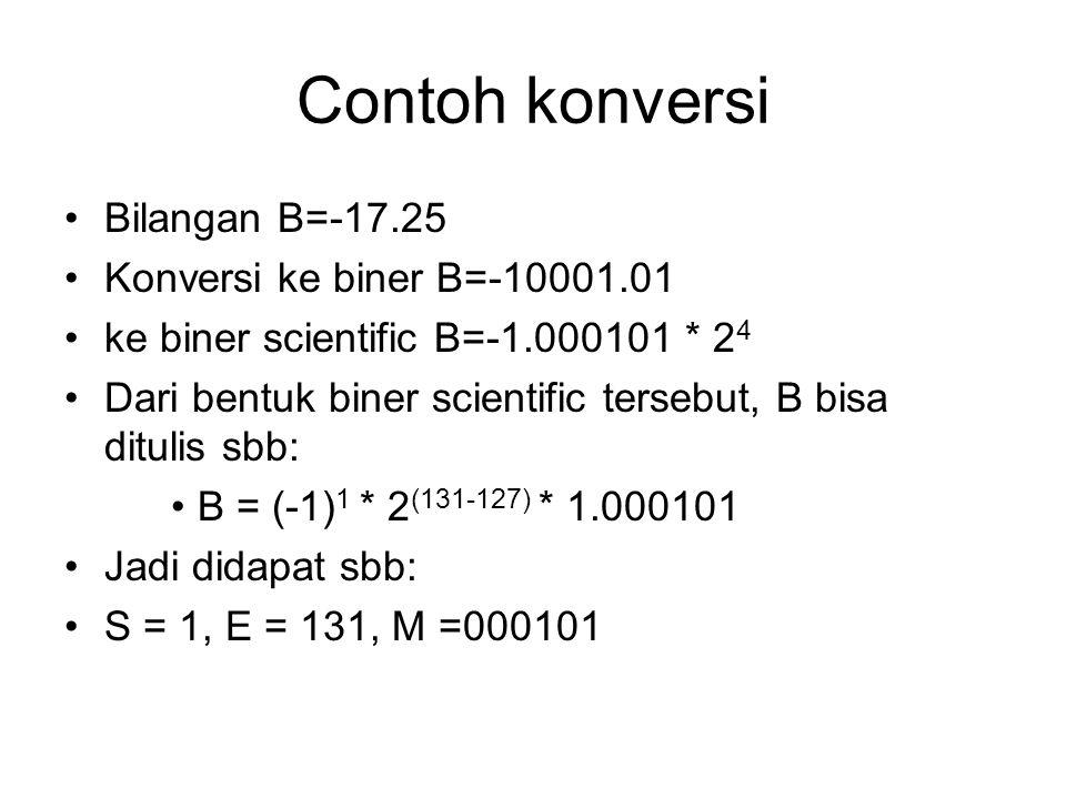 Contoh konversi Bilangan B=-17.25 Konversi ke biner B=-10001.01 ke biner scientific B=-1.000101 * 2 4 Dari bentuk biner scientific tersebut, B bisa di