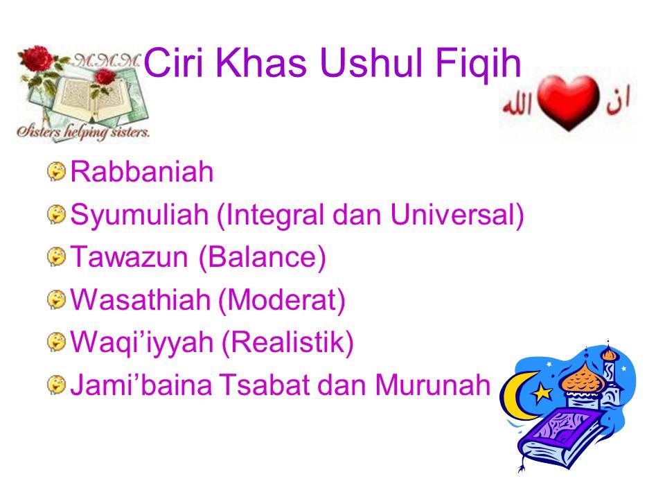 Ciri Khas Ushul Fiqih Rabbaniah Syumuliah (Integral dan Universal) Tawazun (Balance) Wasathiah (Moderat) Waqi'iyyah (Realistik) Jami'baina Tsabat dan Murunah