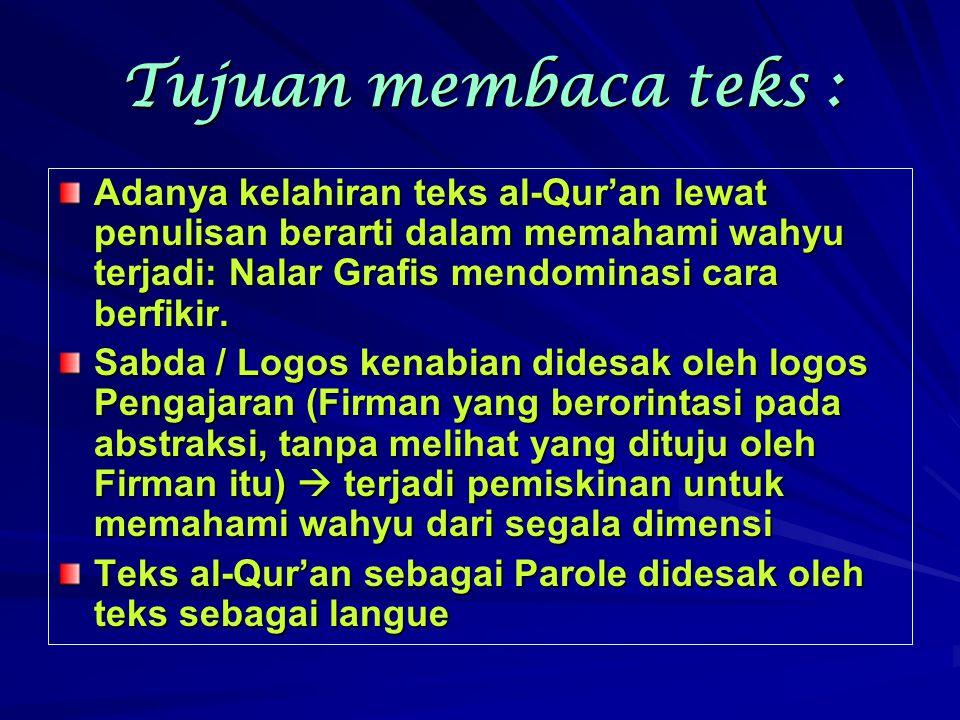 Tujuan membaca teks : Adanya kelahiran teks al-Qur'an lewat penulisan berarti dalam memahami wahyu terjadi: Nalar Grafis mendominasi cara berfikir. Sa