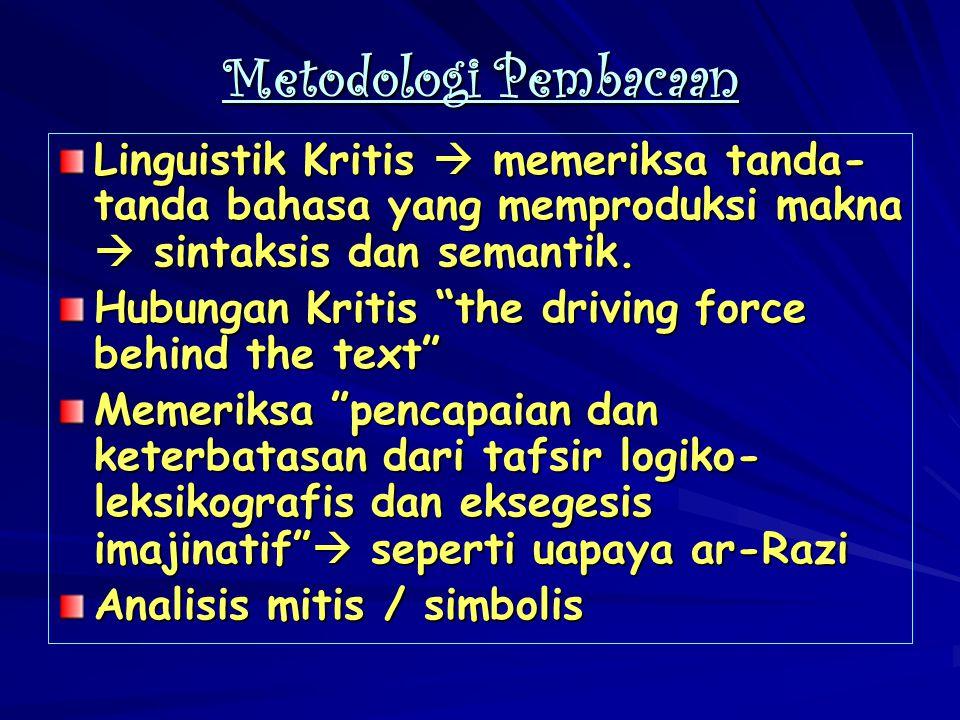 """Metodologi Pembacaan Linguistik Kritis  memeriksa tanda- tanda bahasa yang memproduksi makna  sintaksis dan semantik. Hubungan Kritis """"the driving f"""