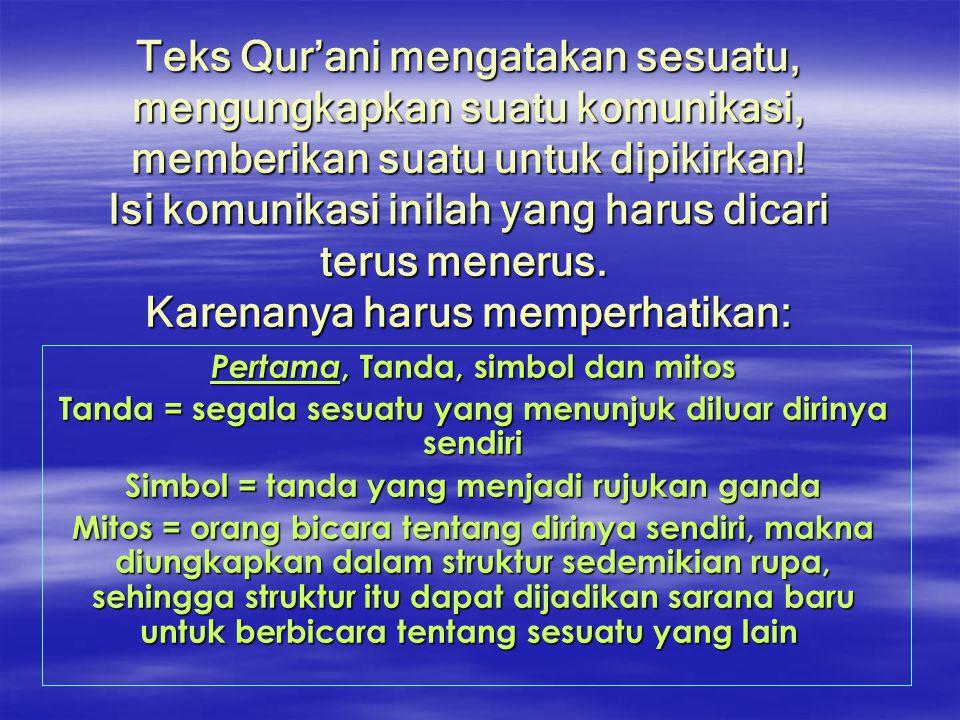 Teks Qur'ani mengatakan sesuatu, mengungkapkan suatu komunikasi, memberikan suatu untuk dipikirkan! Isi komunikasi inilah yang harus dicari terus mene