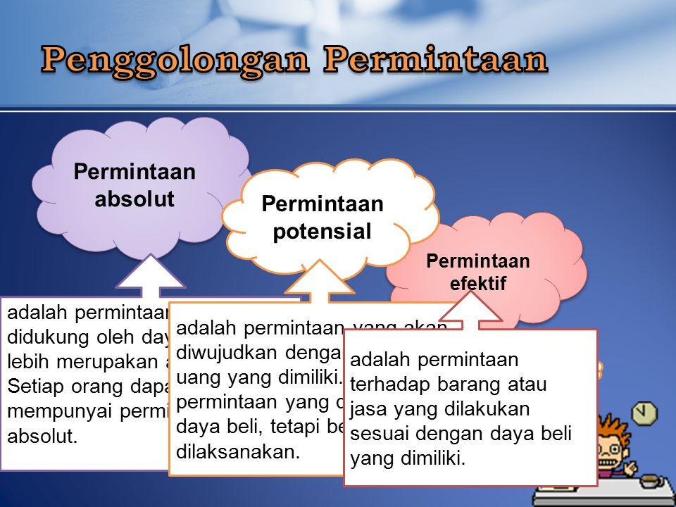 Permintaan absolut Permintaan efektif Permintaan potensial adalah permintaan yang tidak didukung oleh daya beli, tetapi lebih merupakan angan-angan.