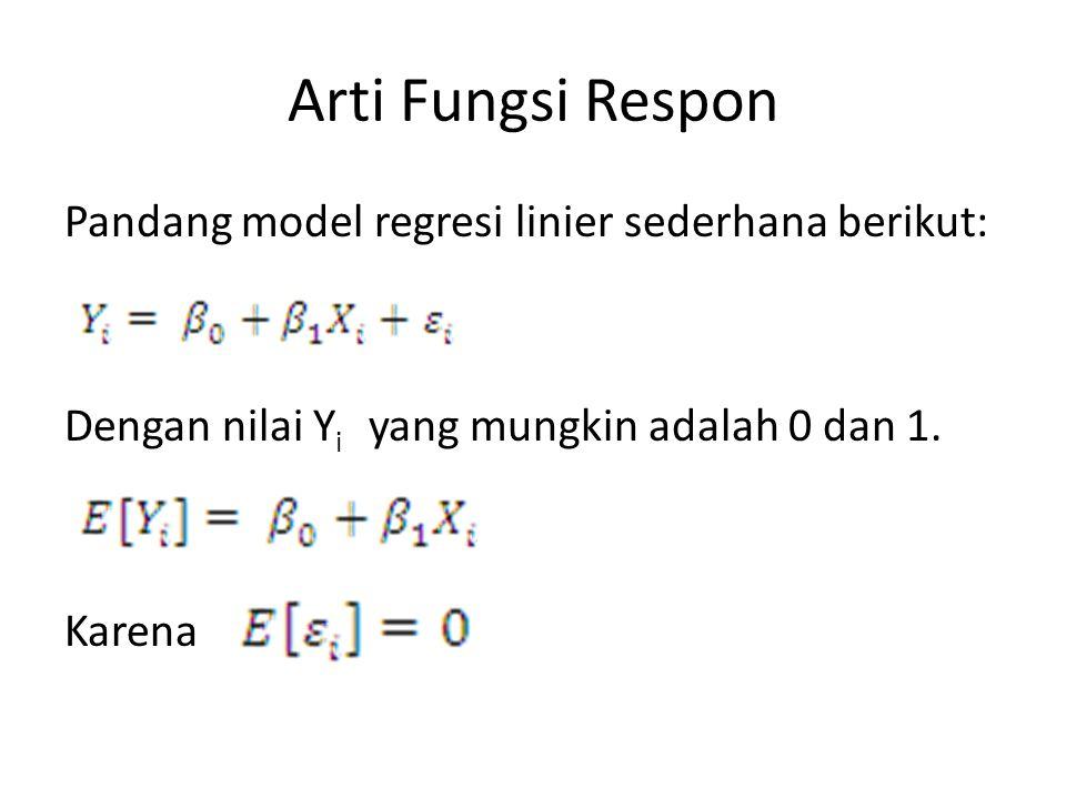 Arti Fungsi Respon Pandang model regresi linier sederhana berikut: Dengan nilai Y i yang mungkin adalah 0 dan 1. Karena