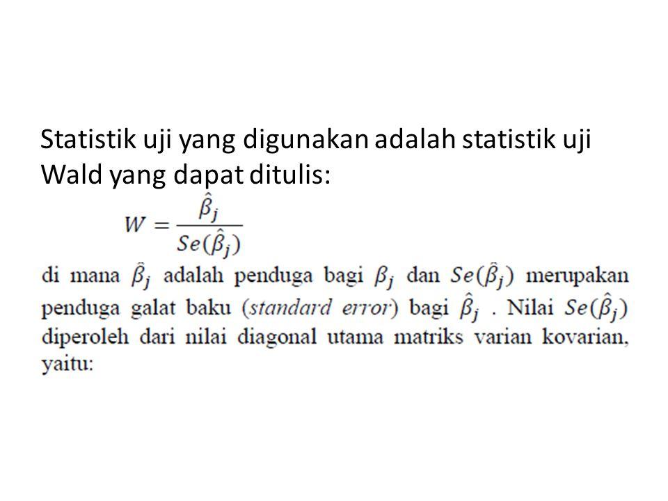 Statistik uji yang digunakan adalah statistik uji Wald yang dapat ditulis: