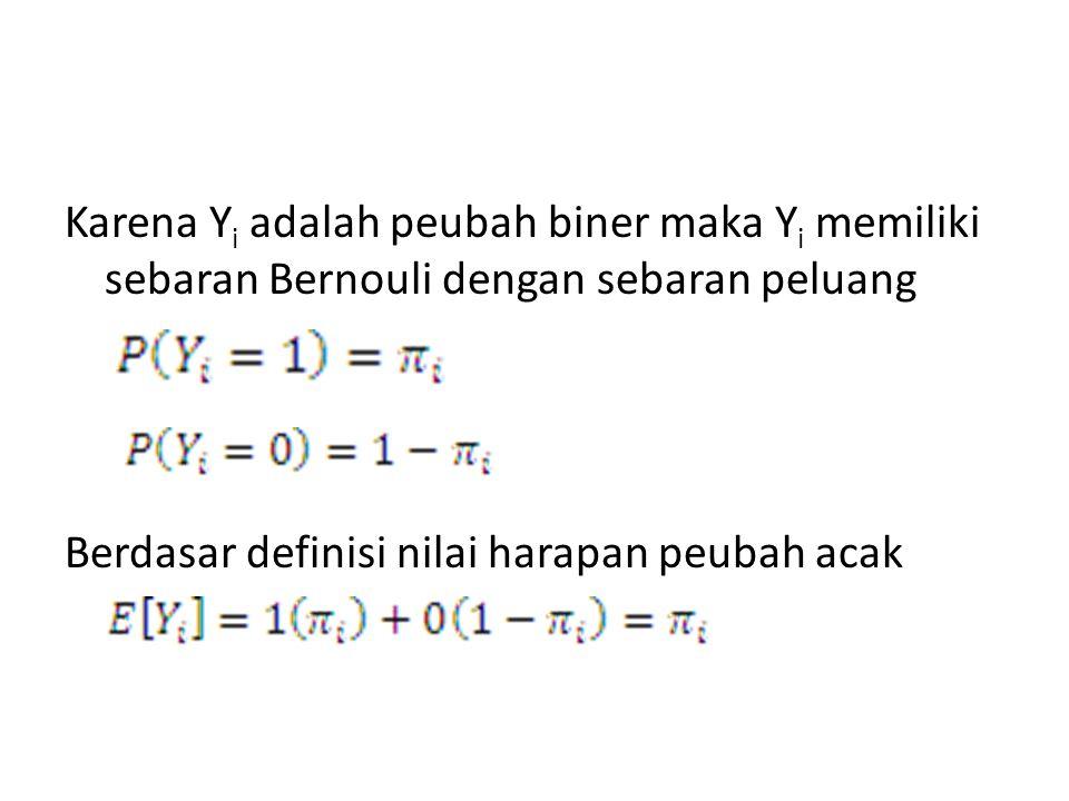 Karena Y i adalah peubah biner maka Y i memiliki sebaran Bernouli dengan sebaran peluang Berdasar definisi nilai harapan peubah acak