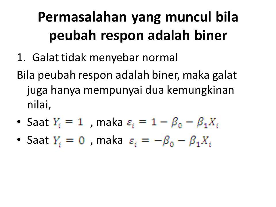 Permasalahan yang muncul bila peubah respon adalah biner 1.Galat tidak menyebar normal Bila peubah respon adalah biner, maka galat juga hanya mempunya