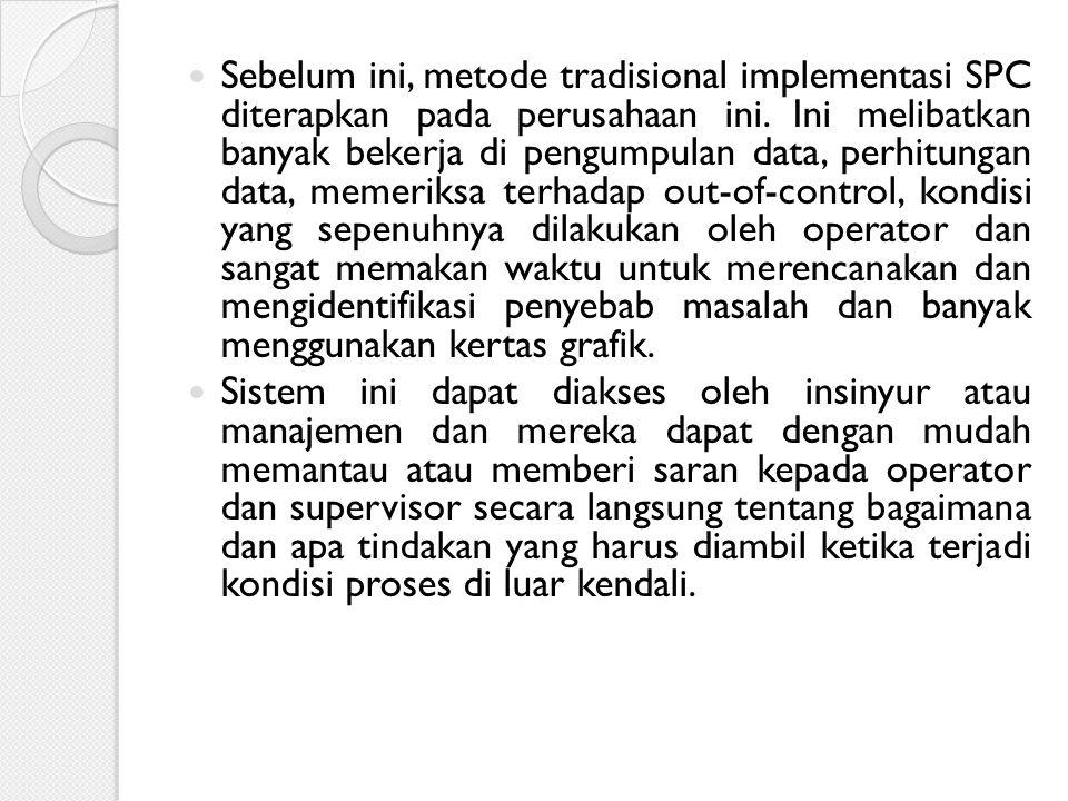 Sebelum ini, metode tradisional implementasi SPC diterapkan pada perusahaan ini. Ini melibatkan banyak bekerja di pengumpulan data, perhitungan data,