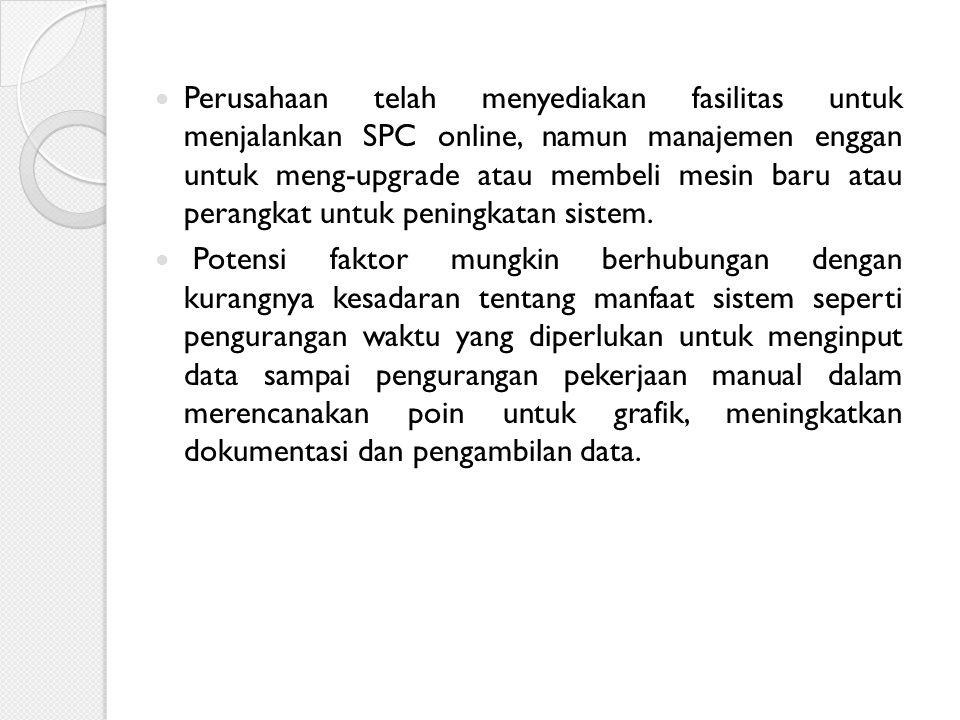 Perusahaan telah menyediakan fasilitas untuk menjalankan SPC online, namun manajemen enggan untuk meng-upgrade atau membeli mesin baru atau perangkat