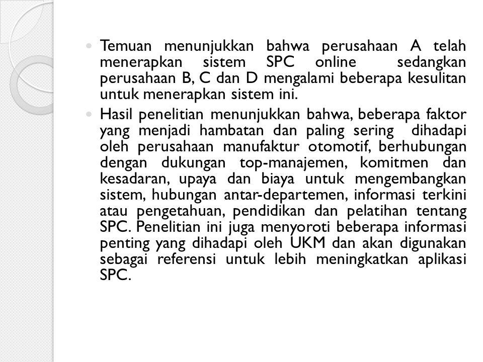 Temuan menunjukkan bahwa perusahaan A telah menerapkan sistem SPC online sedangkan perusahaan B, C dan D mengalami beberapa kesulitan untuk menerapkan