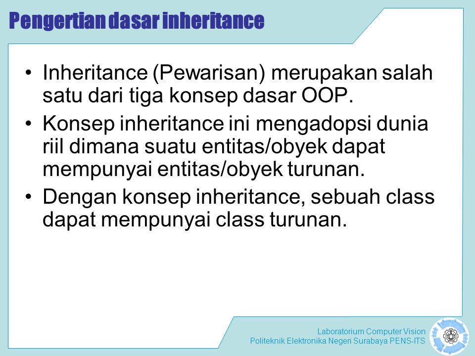 Laboratorium Computer Vision Politeknik Elektronika Negeri Surabaya PENS-ITS Contoh class Parent { public int x = 5; } class Child extends Parent { public int x = 10; public void Info(int x) { System.out.println( Nilai x sebagai parameter = + x); System.out.println( Data member x di class Child = + this.x); System.out.println( Data member x di class Parent = + super.x); } public class NilaiX { public static void main(String args[]) { Child tes = new Child(); tes.Info(20); }