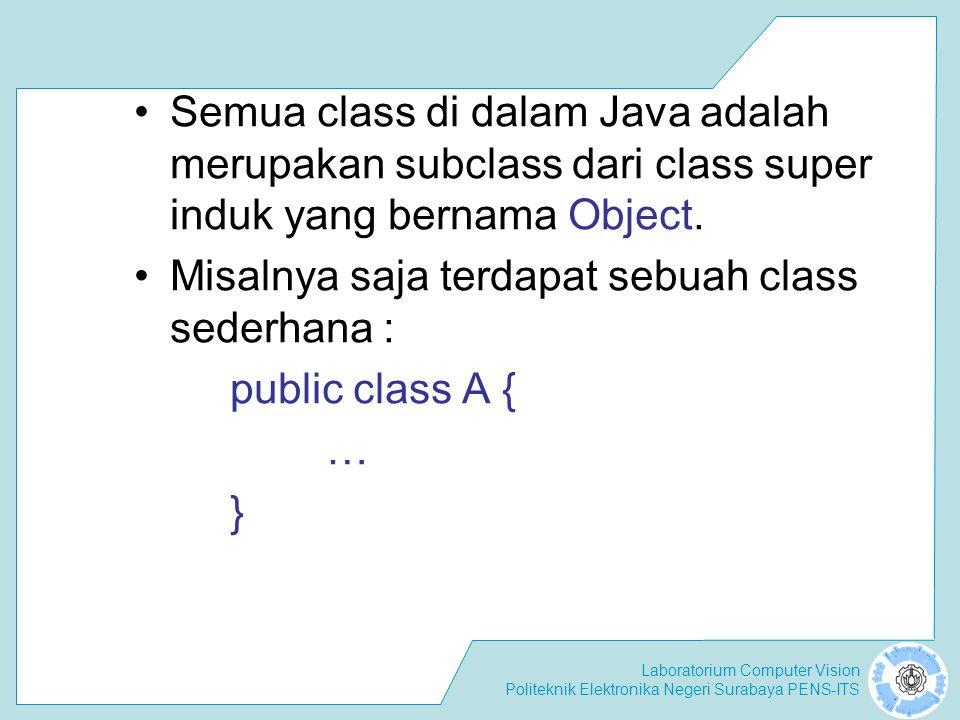 Laboratorium Computer Vision Politeknik Elektronika Negeri Surabaya PENS-ITS Konstruktor tidak diwariskan Sebelum subclass menjalankan konstruktornya sendiri, subclass akan menjalankan constructor superclass terlebih dahulu.