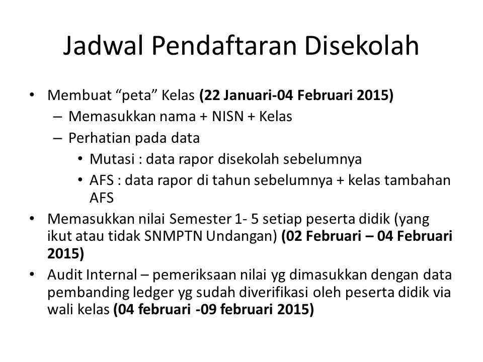 "Jadwal Pendaftaran Disekolah Membuat ""peta"" Kelas (22 Januari-04 Februari 2015) – Memasukkan nama + NISN + Kelas – Perhatian pada data Mutasi : data r"
