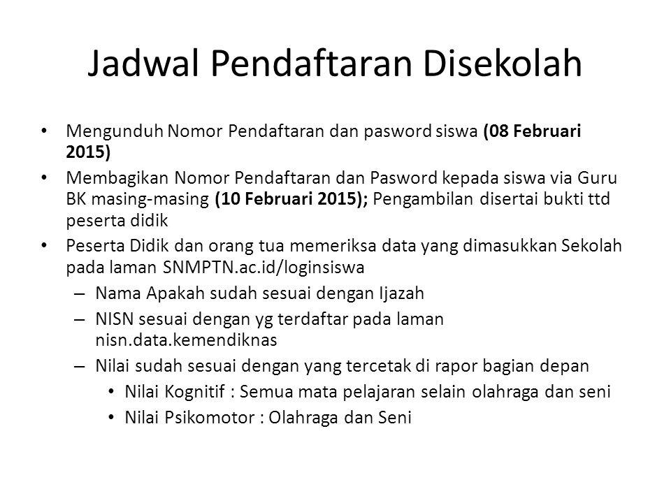 Jadwal Pendaftaran Disekolah Mengunduh Nomor Pendaftaran dan pasword siswa (08 Februari 2015) Membagikan Nomor Pendaftaran dan Pasword kepada siswa vi