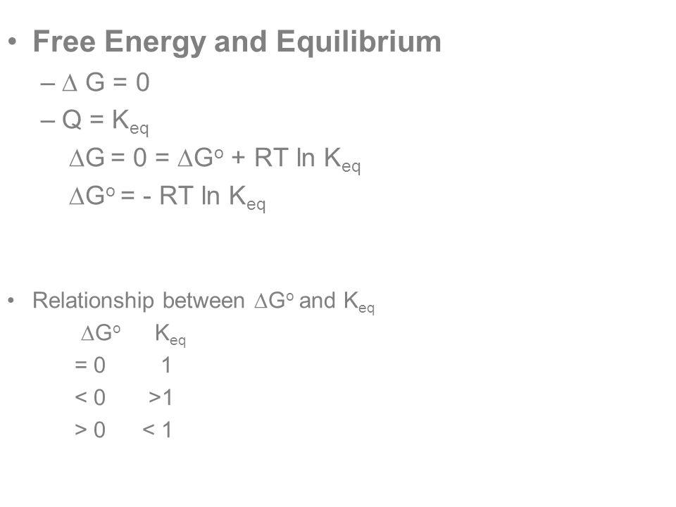 Free Energy and Equilibrium –  G = 0 –Q = K eq  G = 0 =  G o + RT ln K eq  G o = - RT ln K eq Relationship between  G o and K eq  G o K eq = 0 1 1 > 0< 1