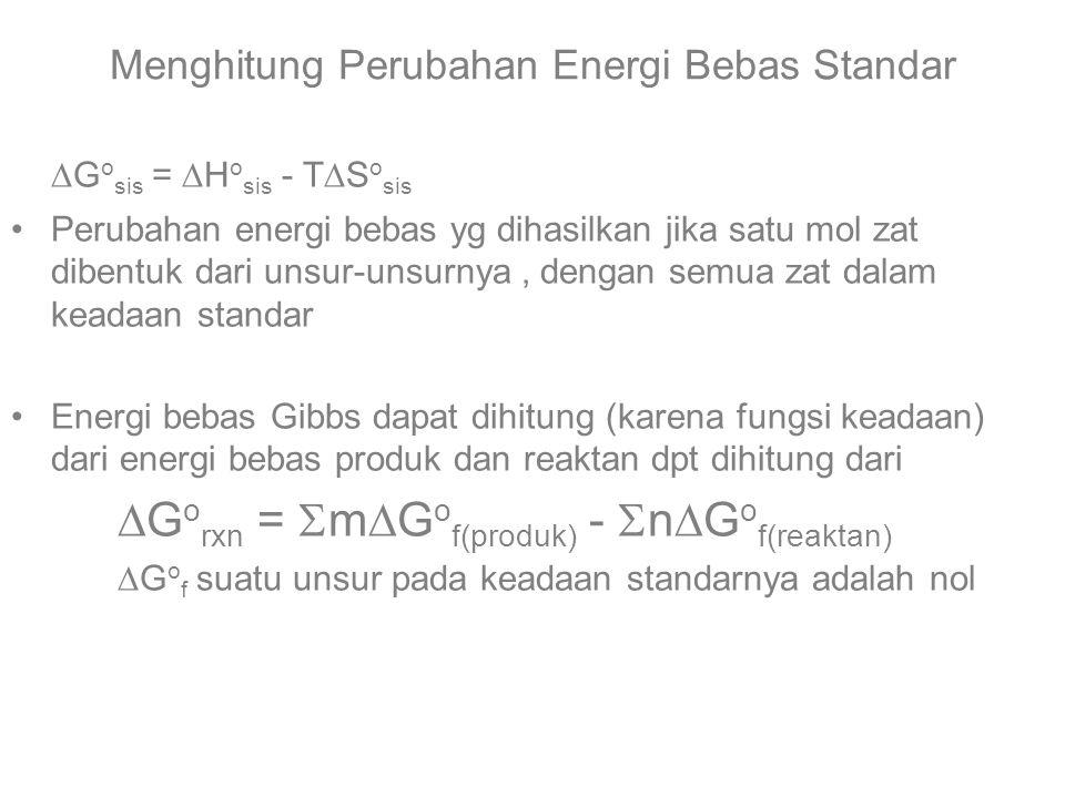 Menghitung Perubahan Energi Bebas Standar  G o sis =  H o sis - T  S o sis Perubahan energi bebas yg dihasilkan jika satu mol zat dibentuk dari unsur-unsurnya, dengan semua zat dalam keadaan standar Energi bebas Gibbs dapat dihitung (karena fungsi keadaan) dari energi bebas produk dan reaktan dpt dihitung dari  G o rxn =  m  G o f(produk) -  n  G o f(reaktan)  G o f suatu unsur pada keadaan standarnya adalah nol