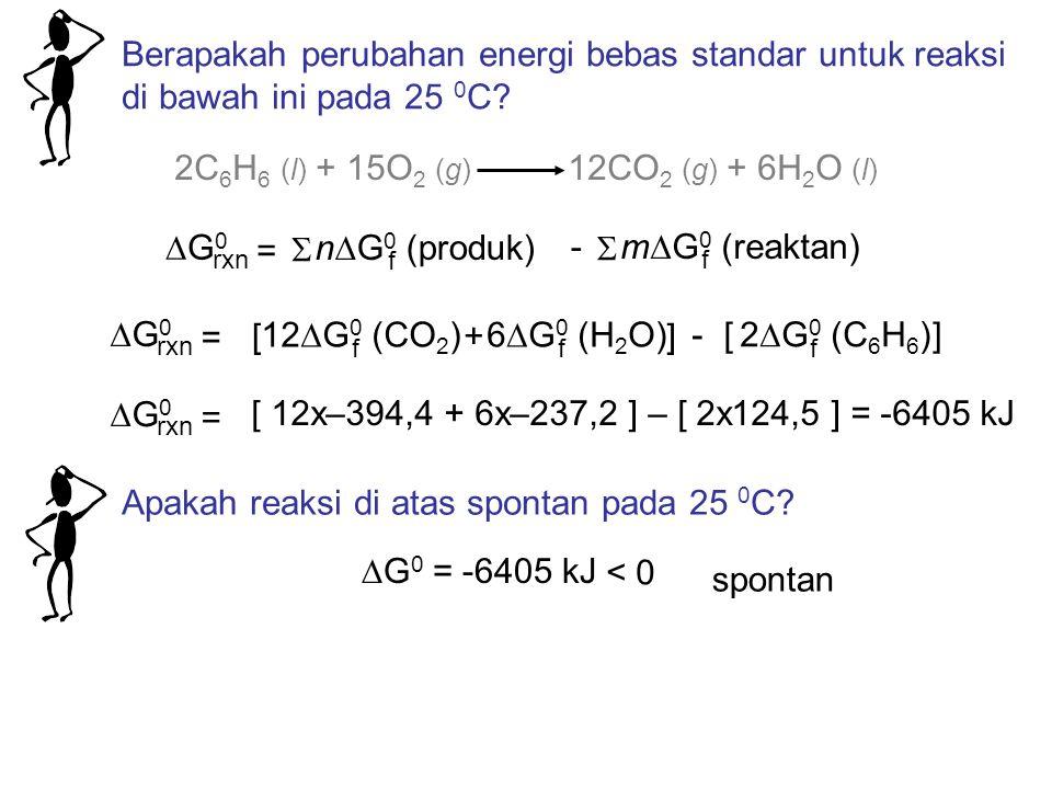 2C 6 H 6 (l) + 15O 2 (g) 12CO 2 (g) + 6H 2 O (l) G0G0 rxn n  G 0 (produk) f =  m  G 0 (reaktan) f  - Berapakah perubahan energi bebas standar untuk reaksi di bawah ini pada 25 0 C.