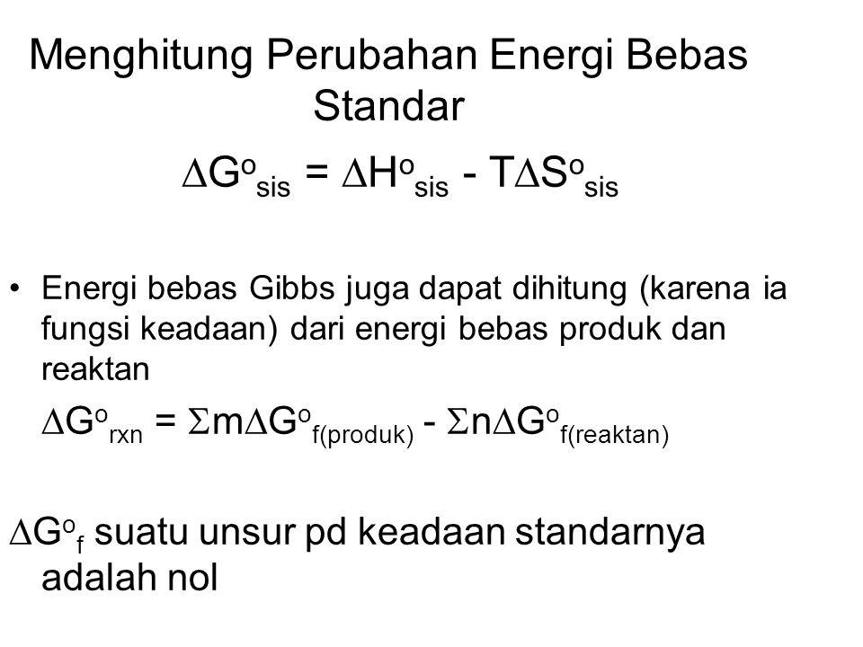 Menghitung Perubahan Energi Bebas Standar  G o sis =  H o sis - T  S o sis Energi bebas Gibbs juga dapat dihitung (karena ia fungsi keadaan) dari energi bebas produk dan reaktan  G o rxn =  m  G o f(produk) -  n  G o f(reaktan)  G o f suatu unsur pd keadaan standarnya adalah nol