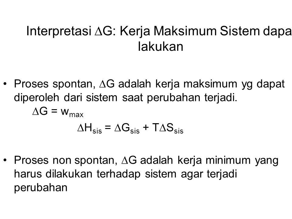 Interpretasi  G: Kerja Maksimum Sistem dapat lakukan Proses spontan,  G adalah kerja maksimum yg dapat diperoleh dari sistem saat perubahan terjadi.