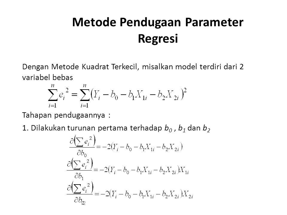 Metode Pendugaan Parameter Regresi Dengan Metode Kuadrat Terkecil, misalkan model terdiri dari 2 variabel bebas Tahapan pendugaannya : 1. Dilakukan tu
