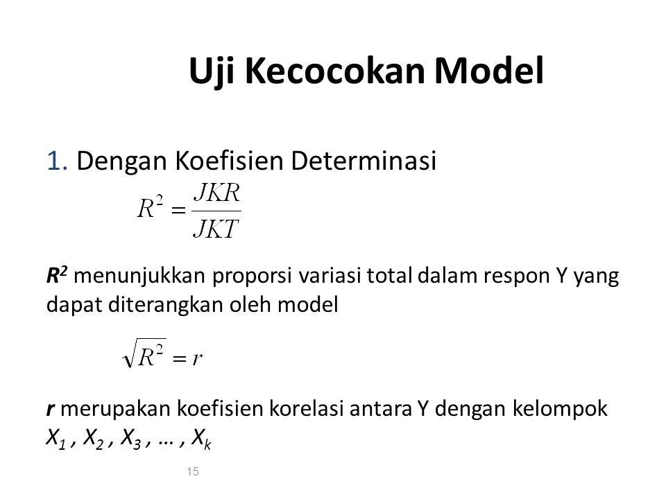 Uji Kecocokan Model 1. Dengan Koefisien Determinasi R 2 menunjukkan proporsi variasi total dalam respon Y yang dapat diterangkan oleh model r merupaka
