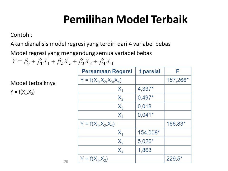 Pemilihan Model Terbaik Contoh : Akan dianalisis model regresi yang terdiri dari 4 variabel bebas Model regresi yang mengandung semua variabel bebas Model terbaiknya Y = f(X 1,X 2 ) Persamaan Regersit parsialF Y = f(X 1,X 2,X 3,X 4 )157,266* X 1 4,337* X 2 0,497* X 3 0,018 X 4 0,041* Y = f(X 1,X 2,X 4 )166,83* X 1 154,008* X 2 5,026* X 4 1,863 Y = f(X 1,X 2 )229,5* 26